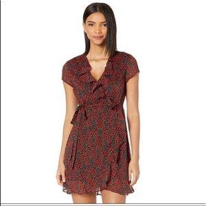 Bardot Cherry Faux Wrap Dress